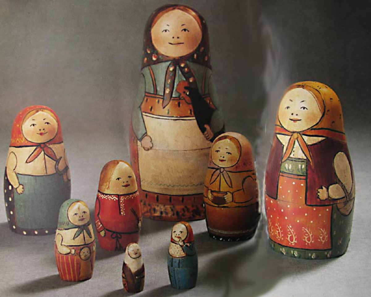 First Russian nesting dolls made by Vasily Zvezdochkin and Sergey Malyutin.