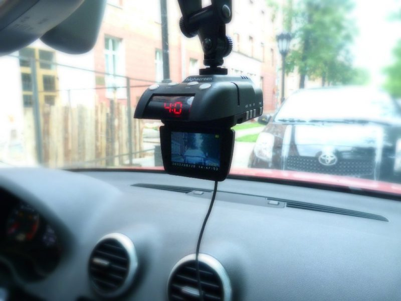 Recorder with radar detector in the car