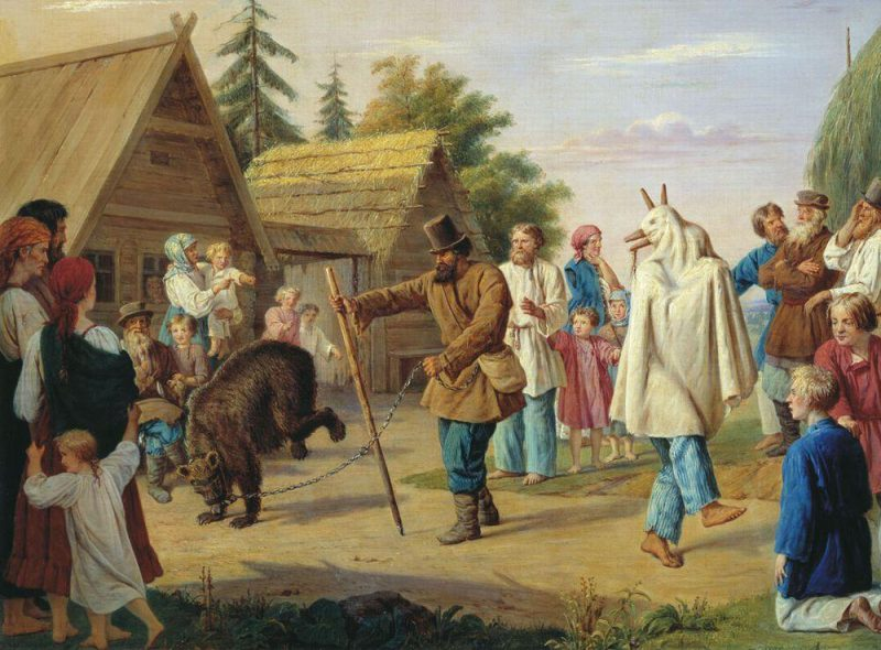 Skomorokhs in a Russian village by François Nicholas Riss