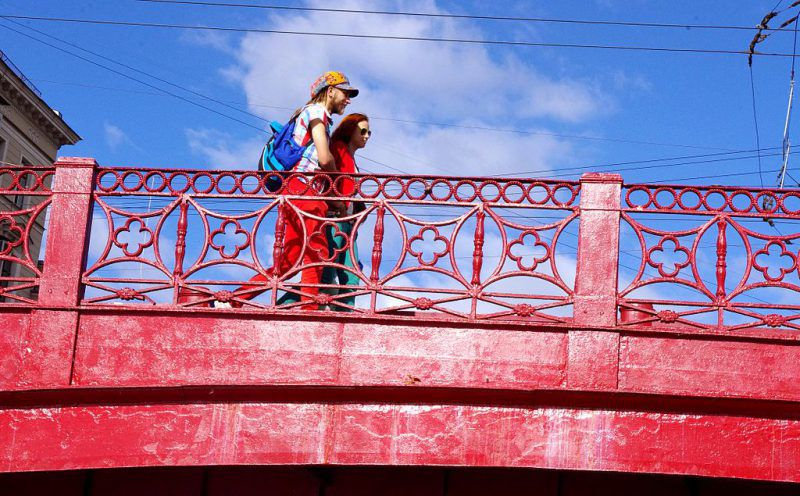 Red Bridge over the Moika River